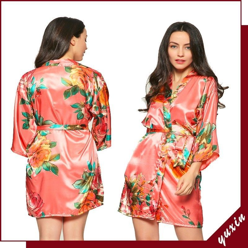 Fashion Floral Robe Women Bride Robe Gown Bride Wedding Kimono Robe Bridesmaid