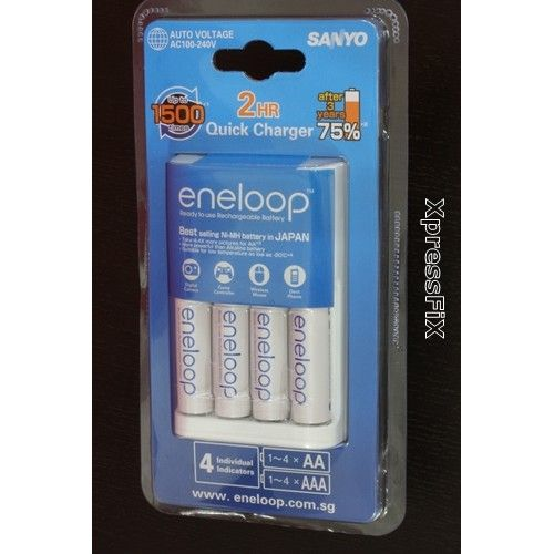 eneloop NC-MQR06W AA AAA Smart Charger with 4x 2000 mAh 1500 cycles rechargeable batteries for Consumer and Professiona…   Smart charger ...