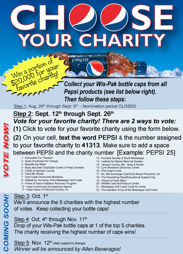 Pepsi Choose Your Charity Promotion - WLOX com - The News