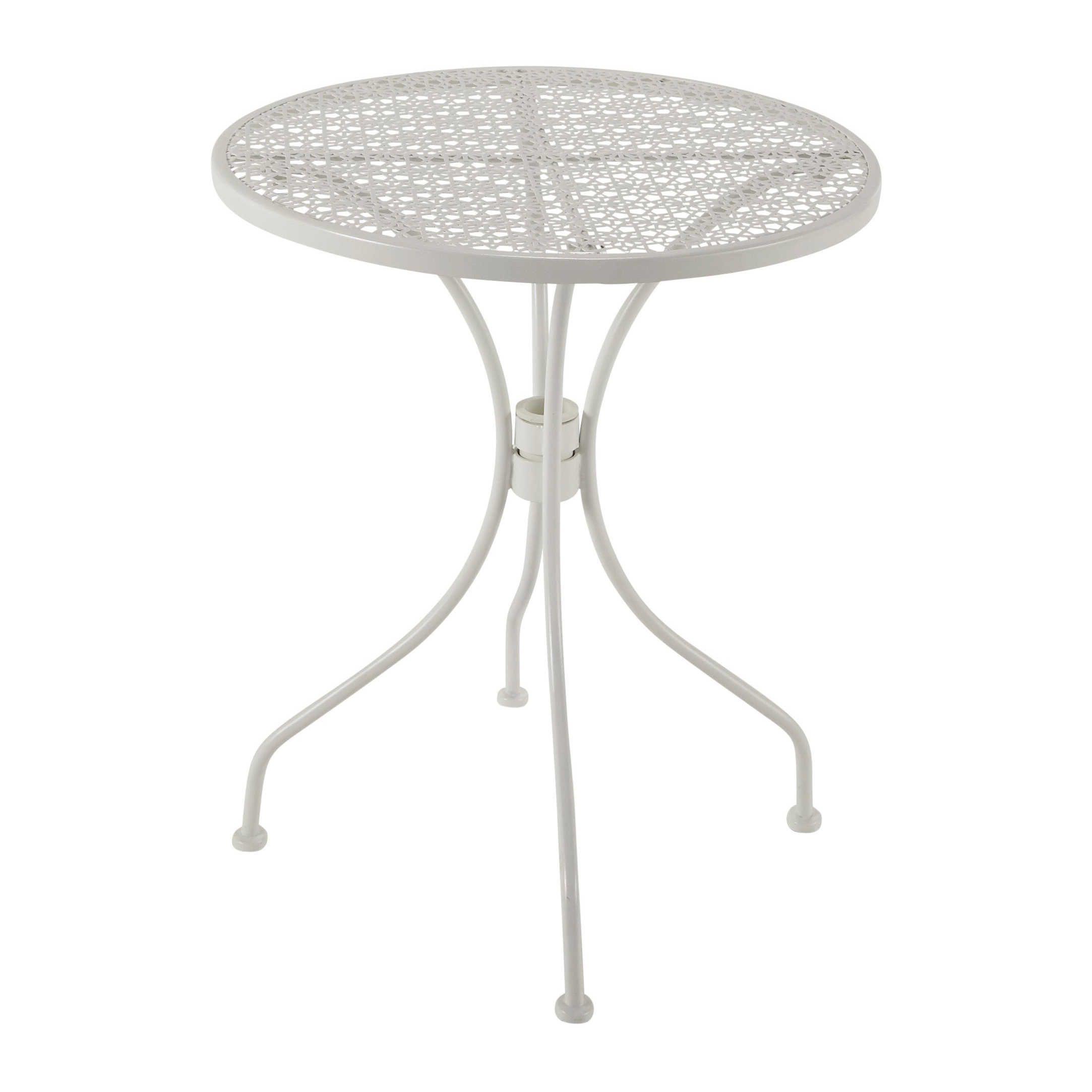 Gartentisch Aus Metall Mit Lochmuster D 60 Cm Wei Suzon