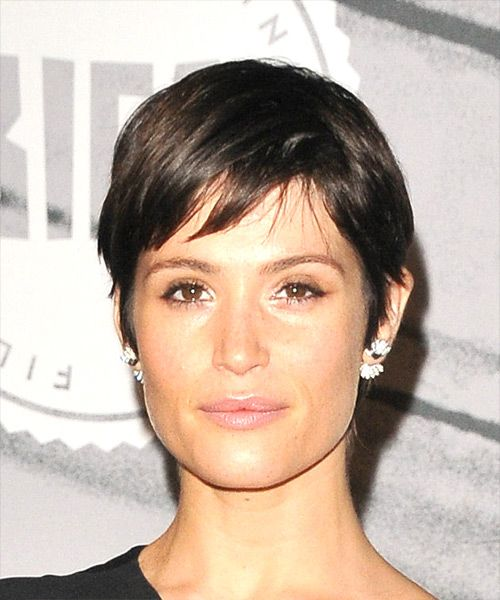 Gemma Arterton Short Straight Casual Pixie Hairstyle with Side Swept     View and try on this Gemma Arterton Short Straight Casual Pixie hairstyle    Dark Brunette