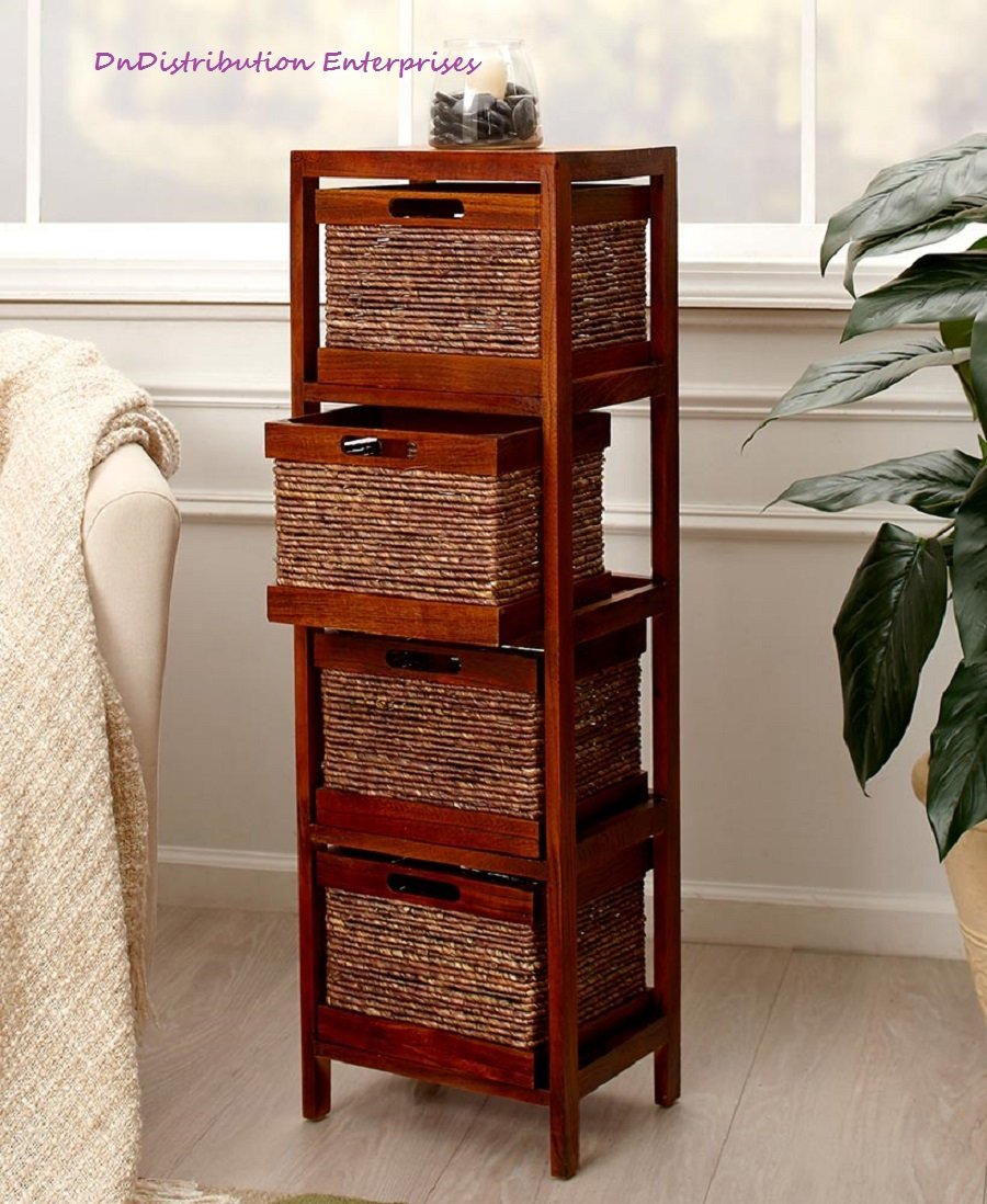 Shelf tower with baskets wood frame storage organization bathroom
