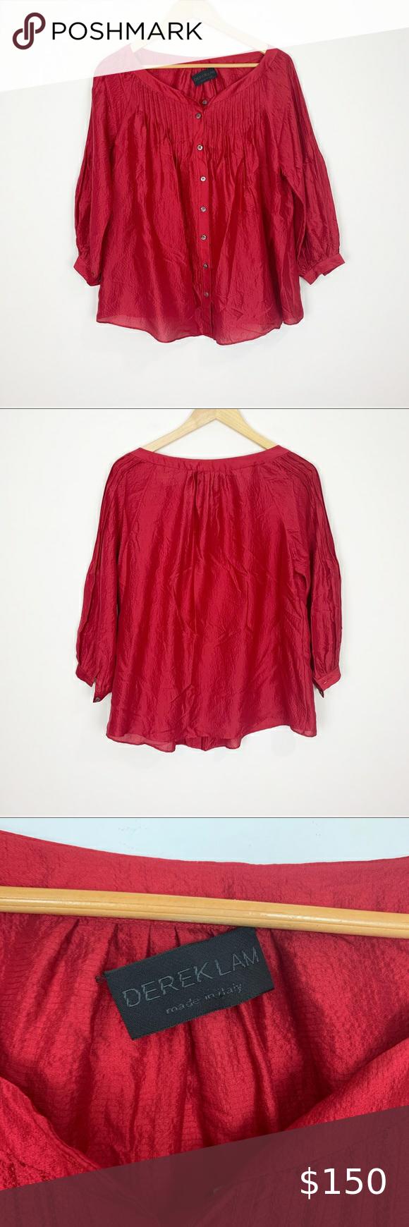 Derek Lam pale pink fringed silk top