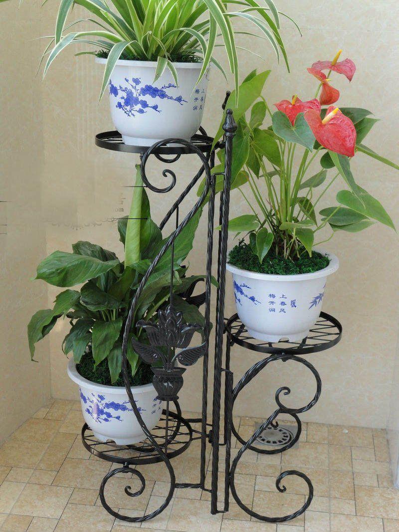 Black folding indoor garden herb flower planter plant 3 pots pot black folding indoor garden herb flower planter plant 3 pots pot stand stands ornaments cheap metal izmirmasajfo