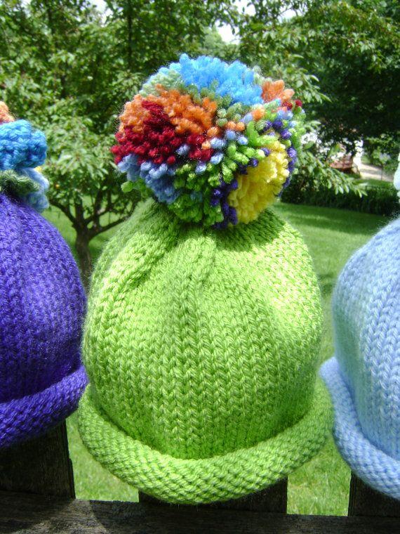 Technicolor Rainbow Baby Hat with Pom Pom  by sheilalikestoknit, $25.00