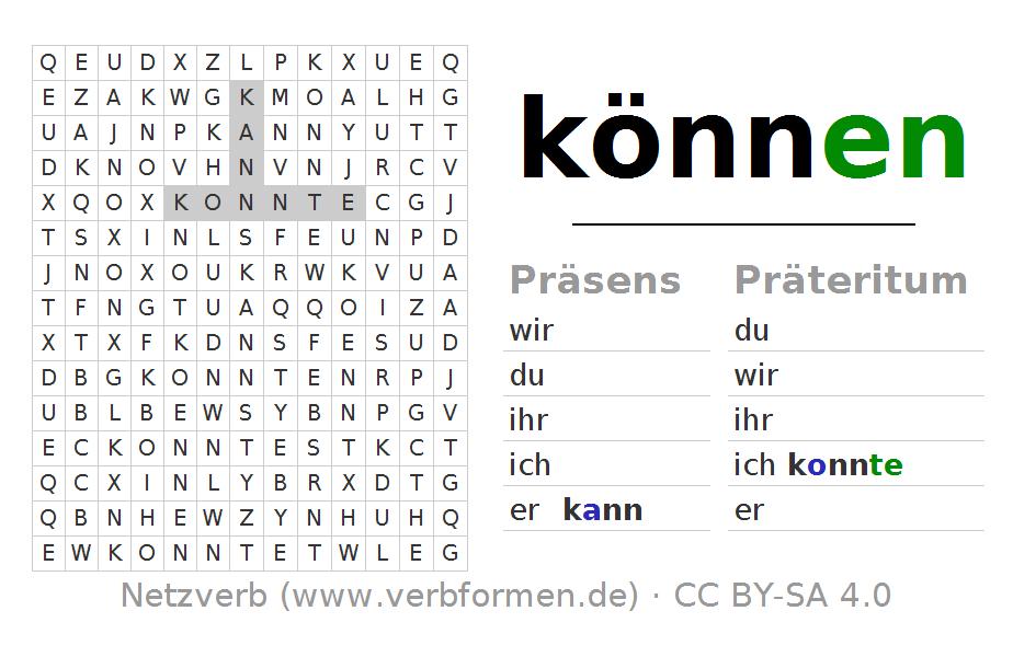 wortsuchr tsel f r die konjugation des verbs k nnen wortsuchr tsel zur konjugation deutscher. Black Bedroom Furniture Sets. Home Design Ideas