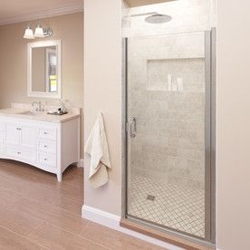 Basco 32 In To 33 In Semi Frameless Silver Hinged Shower Door