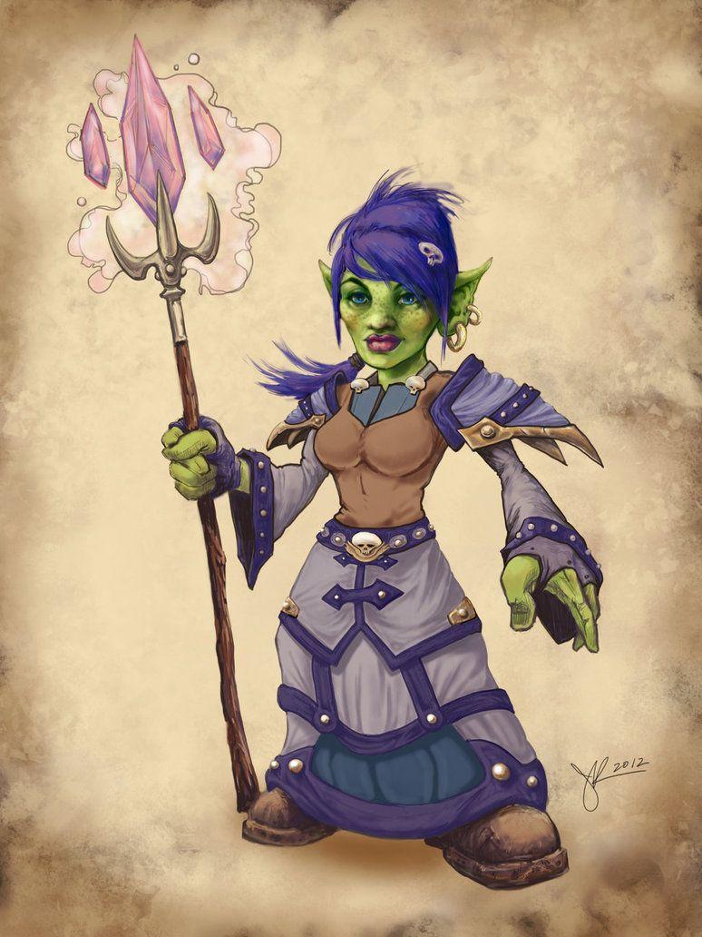 world of warcraft fan art goblin mage by jenniferkearney