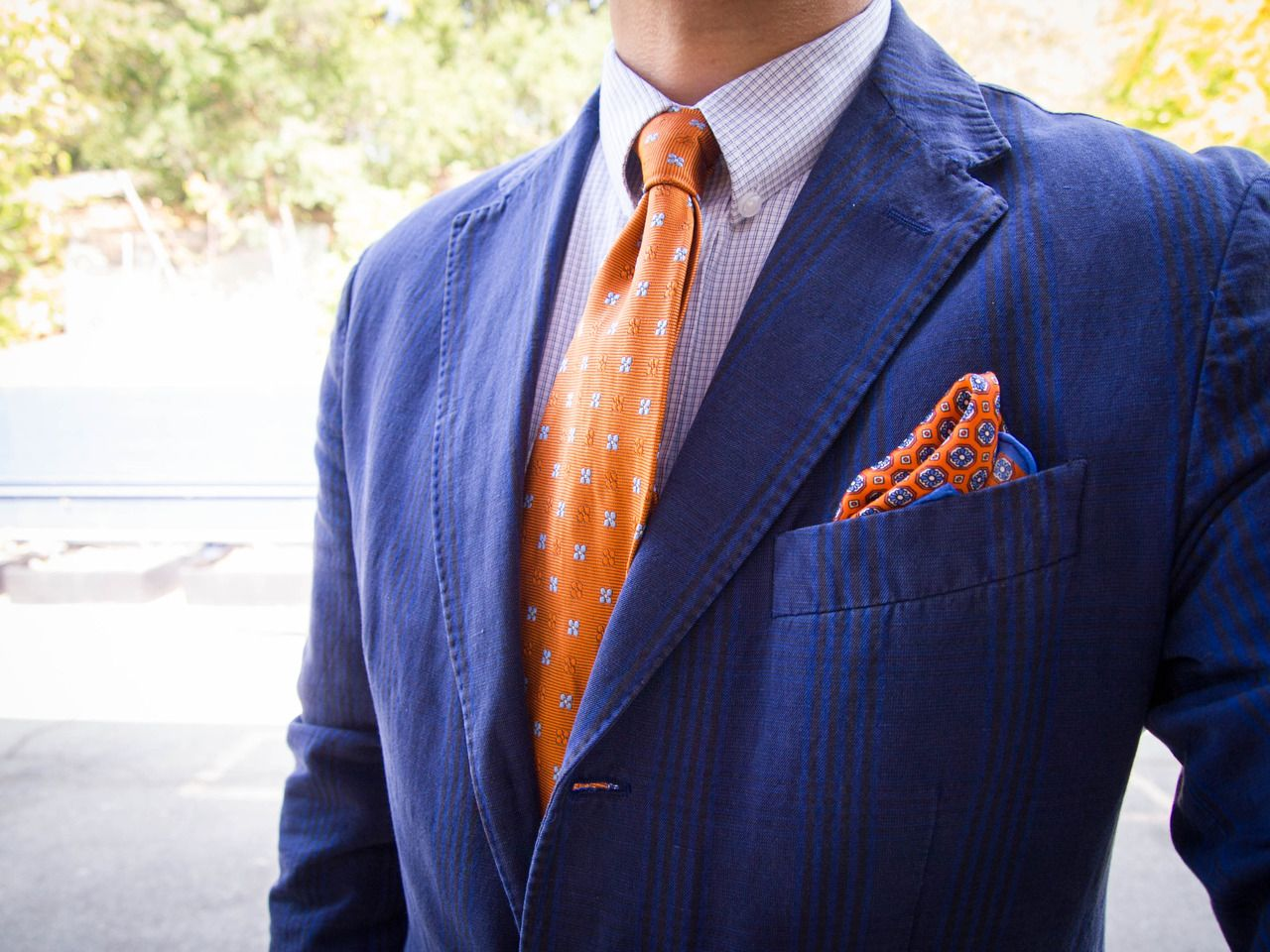 127ae552db4d Pin by Taylor Dickson on Visual Displays   Jackets, Orange tie, Blue