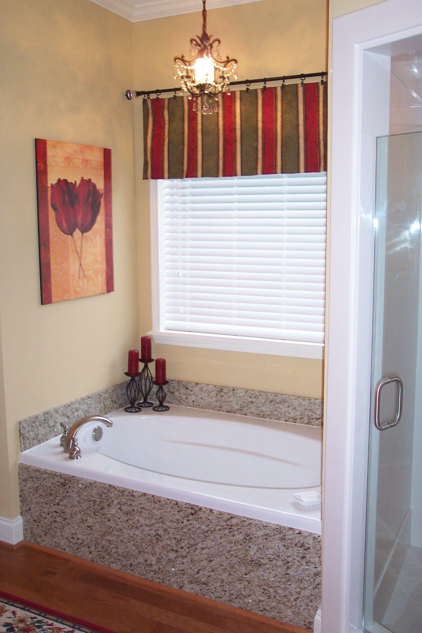 Bathroom Remodel Showing Granite Tub Skirt And Backsplash Around