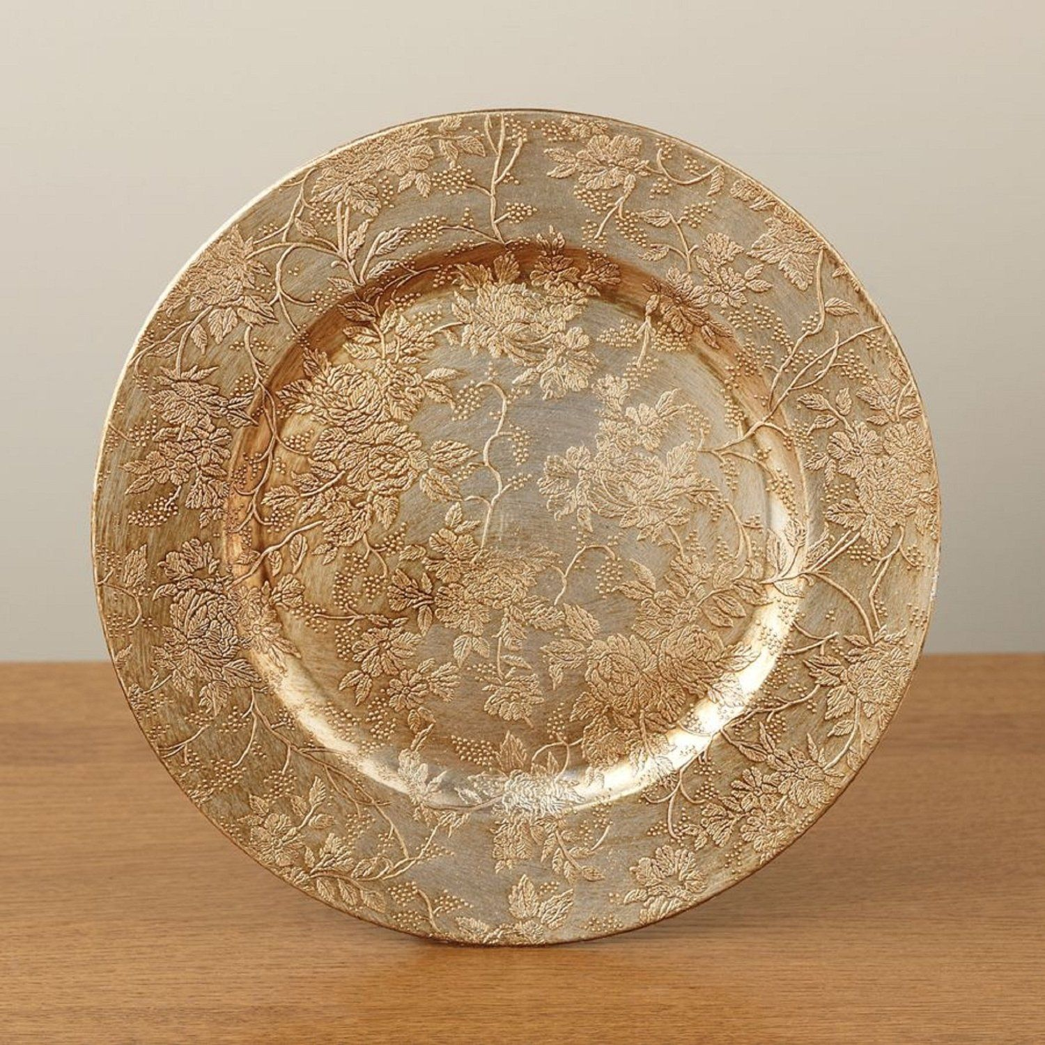 Amazon.com: Holidays Antique Embossed Design Charger Plates (ANTIQUE EMBOSSED GOLD): Kitchen & Dining