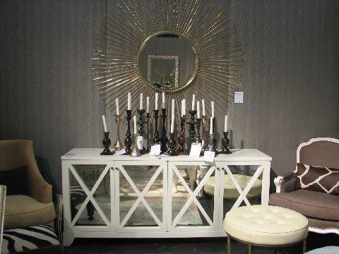 Kittenhead Dining Room Gray Textured Walls White Mirrored Buffet Gold Sunburst Mirror