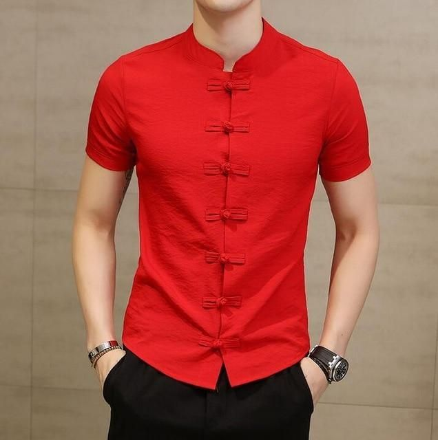 New Men Shirt Fashion Chinese style Linen Slim Fit Casual Short Sleeves Shirt – Red / Chinas size 5XL