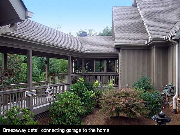 Covered deck and breezeway leading to the detached garage for Patio home plans with garage