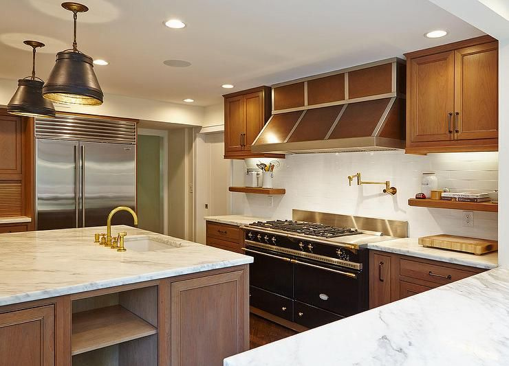Brown Kitchen Hood Transitional Kitchen Trendy Kitchen Tile Brown Cabinets Oak Cabinets