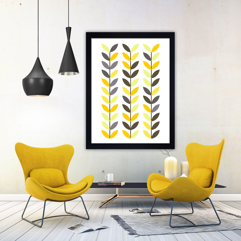 Scandi leaves print minimalist wall art mid century print minimalist ...