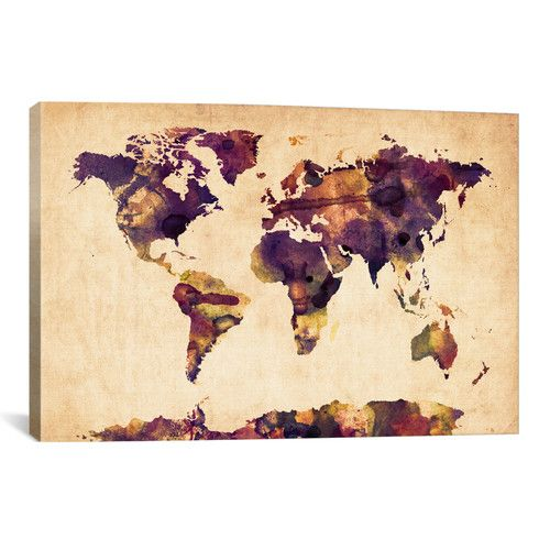 """Found it at Wayfair.ca - """"Urban Watercolor World Map VI"""" by Michael Tompsett Painting Print on Wrapped Canvas"""