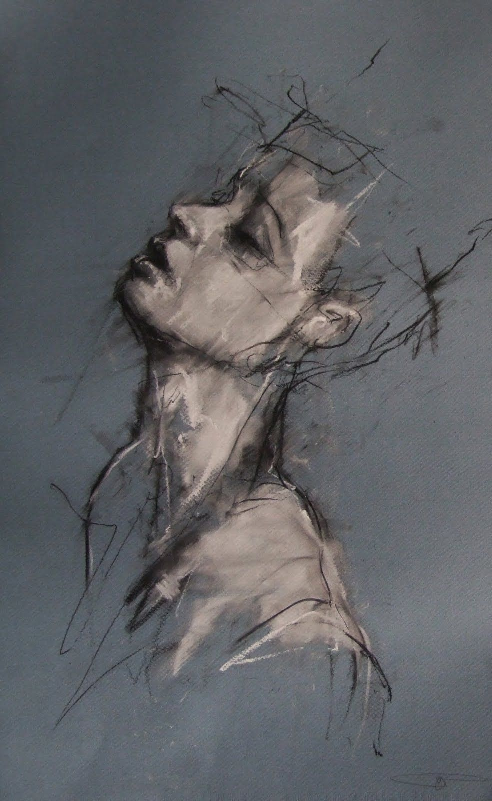 Guy Denning Structure Of The Human Body Quick Harsh Brush Strokes I Like The Neutral Colour Palette Portrait Art Art Drawings Life Drawing