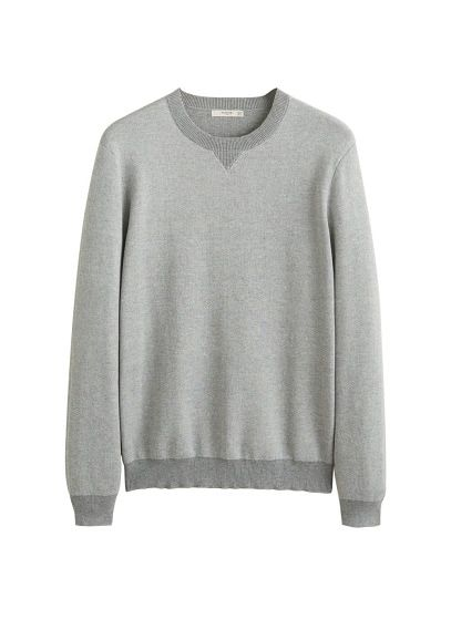 1030c417 MANGO MAN - Male - Knit cotton sweater medium heather grey mango man -  Medium heather grey - Xl