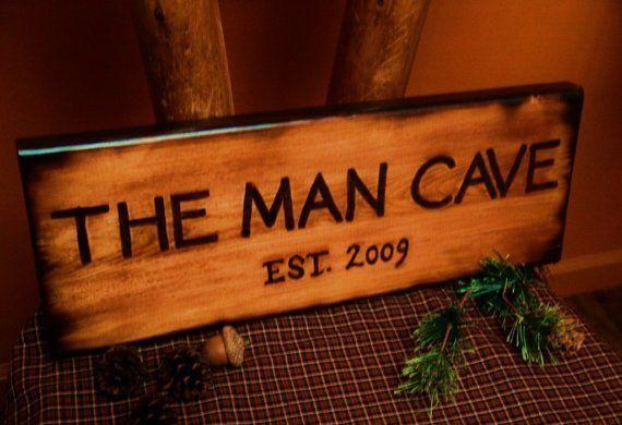 Image detail for -THE MAN CAVE Wood Sign Burned Rustic Log Cabin Bathroom Style OFG TEAM ...
