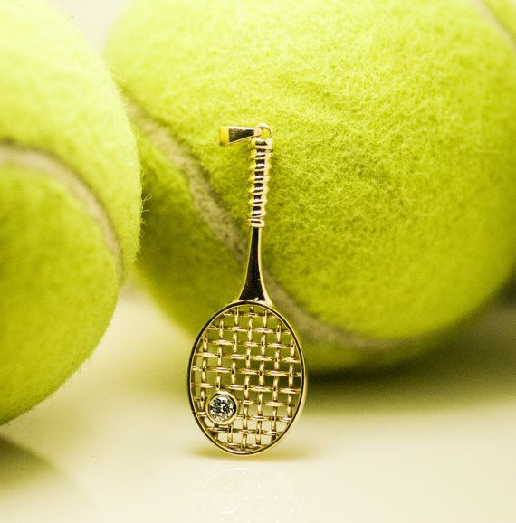 Sale only 520 large diamond 14k gold tennis racket pendant by sale only 520 tennis racketround mozeypictures Gallery