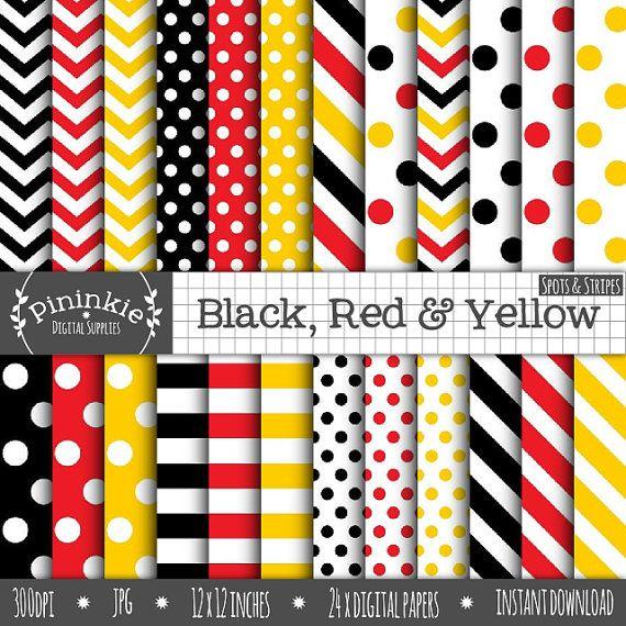 76c0cf8b4b13f Black, Red & Yellow Digital Paper, Polka Dots, Chevrons, Stripes ...