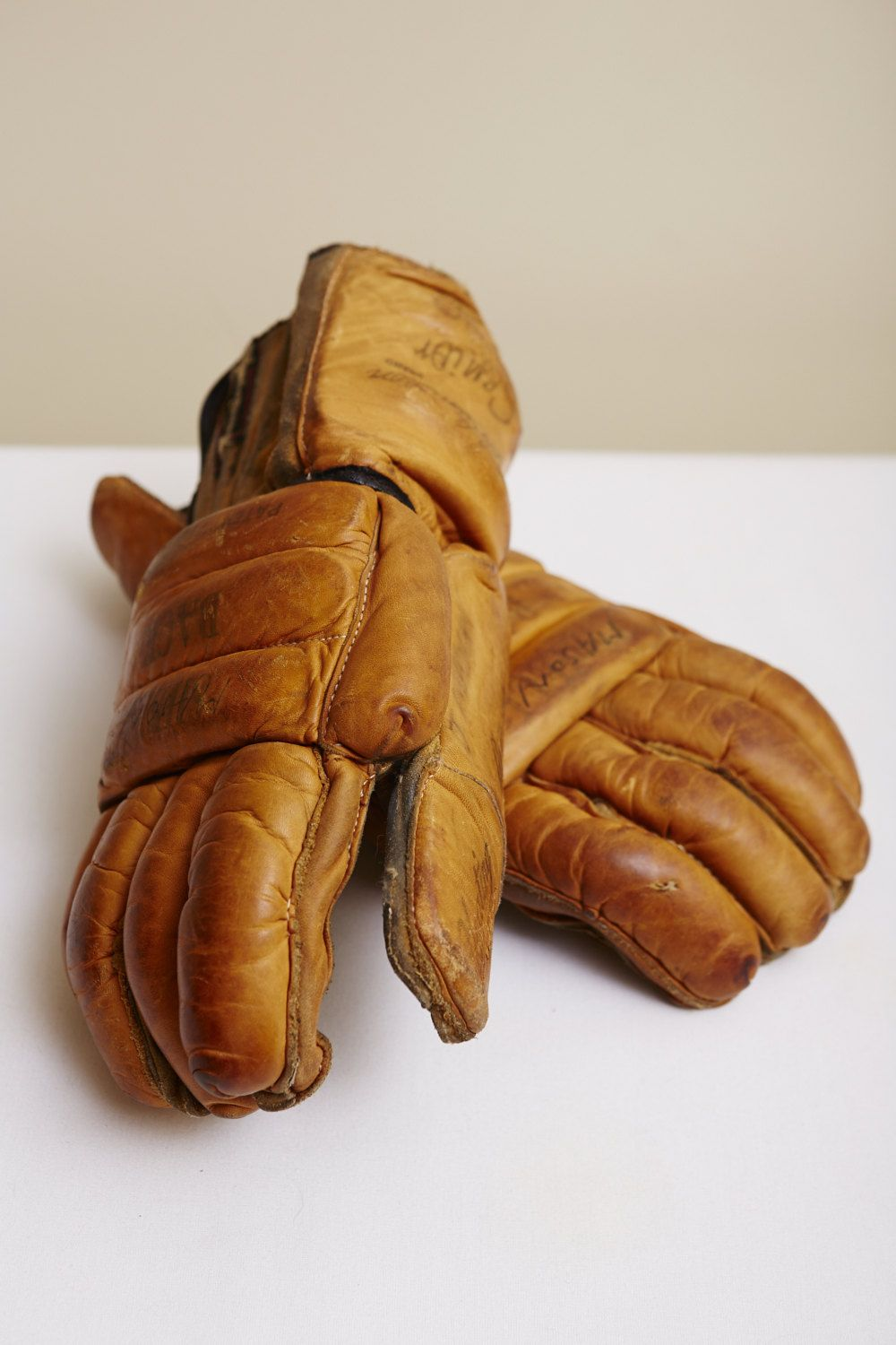 1950s Leather Hockey Gloves By Bob Cameron For Cooper Weeks Made In