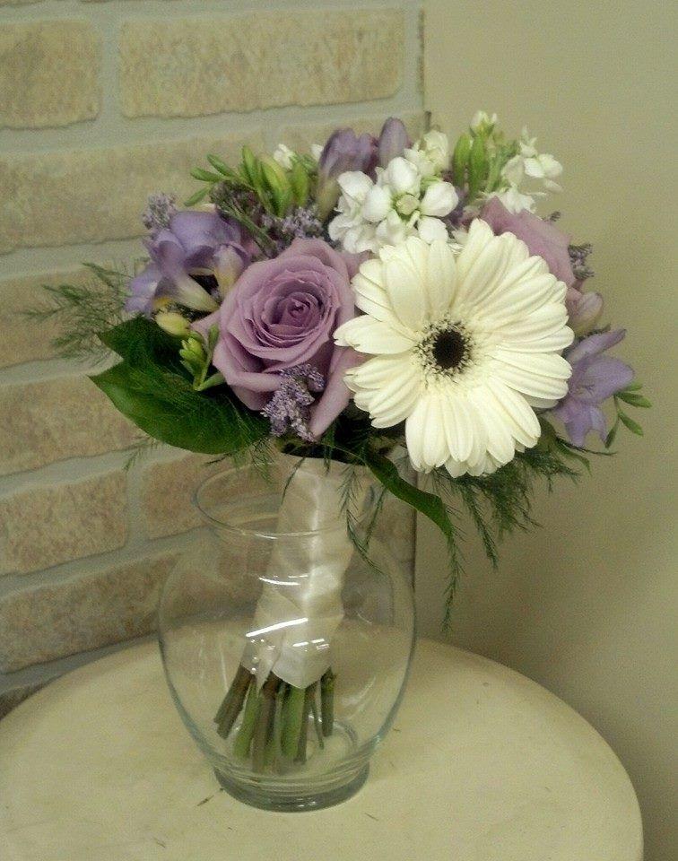 Bridal Bouquet White Stock White Mini Gerber Daisies Purple