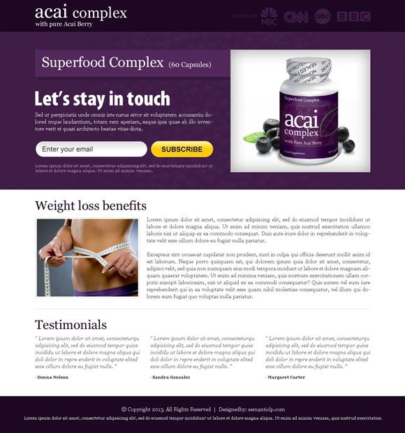 Download acai berry landing page design from http://www.semanticlp ...