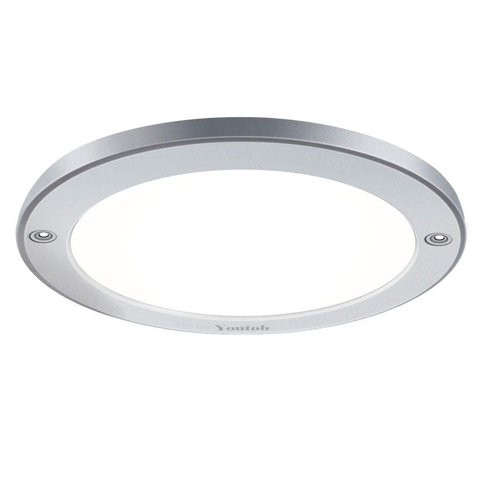 Youtob Led Flush Mount Ceiling Light 15w 100 Watt Equivalent 1200lm Brushed Silver Round Lighting Fixture For Closets Kitchens Stairwells Basements Bedroo Ceiling Lights Flush Mount Ceiling Lights Flush Mount Ceiling