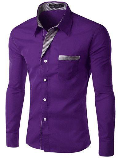Long Sleeve Slim Men Shirt 13 Colors Shirt Types
