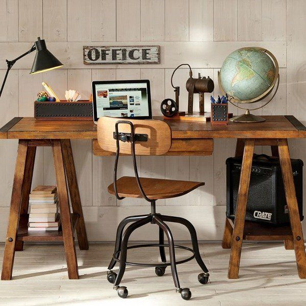 Sawhorse desk design ideas a chic and simple desk solution rustic industrial home office Industrial home office design ideas