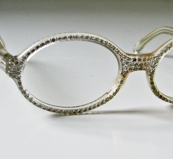 1950s Clear Plastic and Rhinestone eyeglass Frames ...