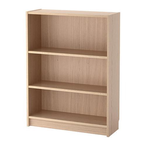 BILLY white stained oak veneer, Bookcase, 80x28x106 cm ...