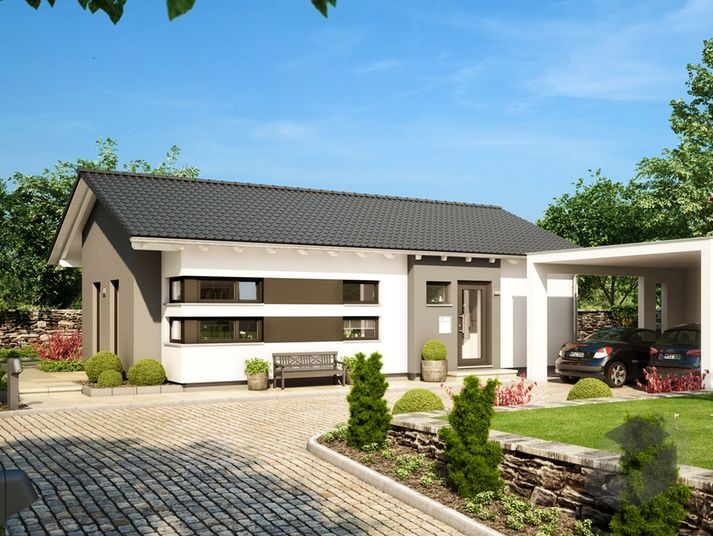 Solution 87 v3 von living haus by bien zenker bungalow for Moderner bungalow mit satteldach
