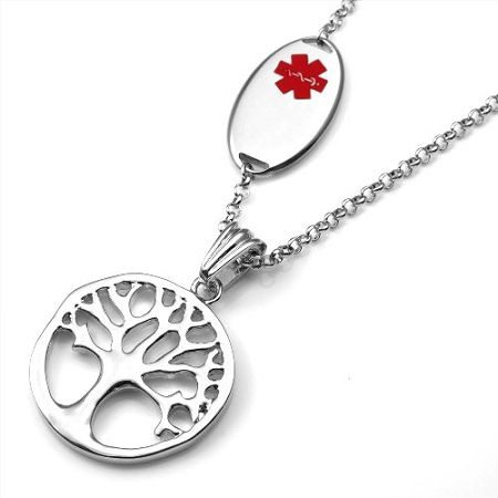 Tree charm medical id pendant necklace medical id necklaces tree charm medical id pendant necklace aloadofball Gallery