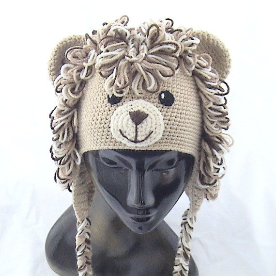 Crochet el sombrero de León sombrero animal de ganchillo   gorritos ...