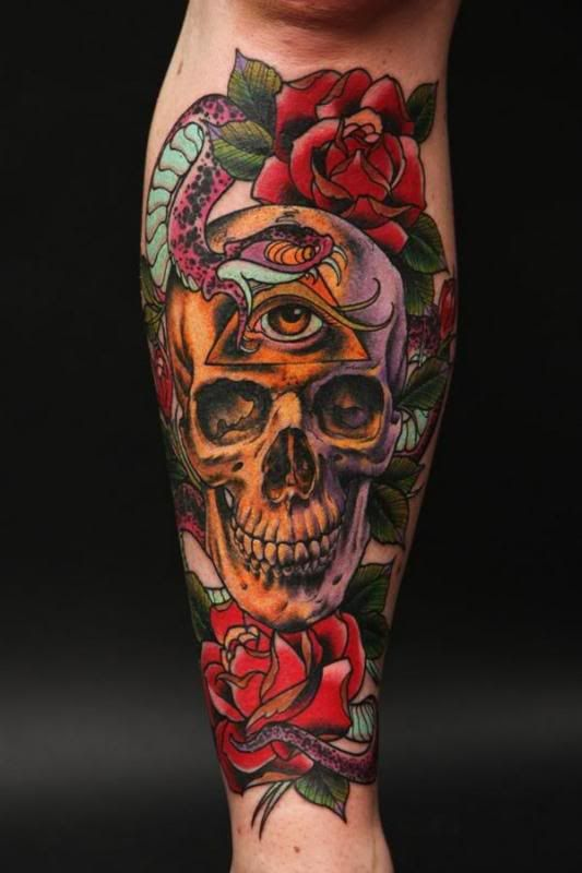 Color Rose Skull Tattoos