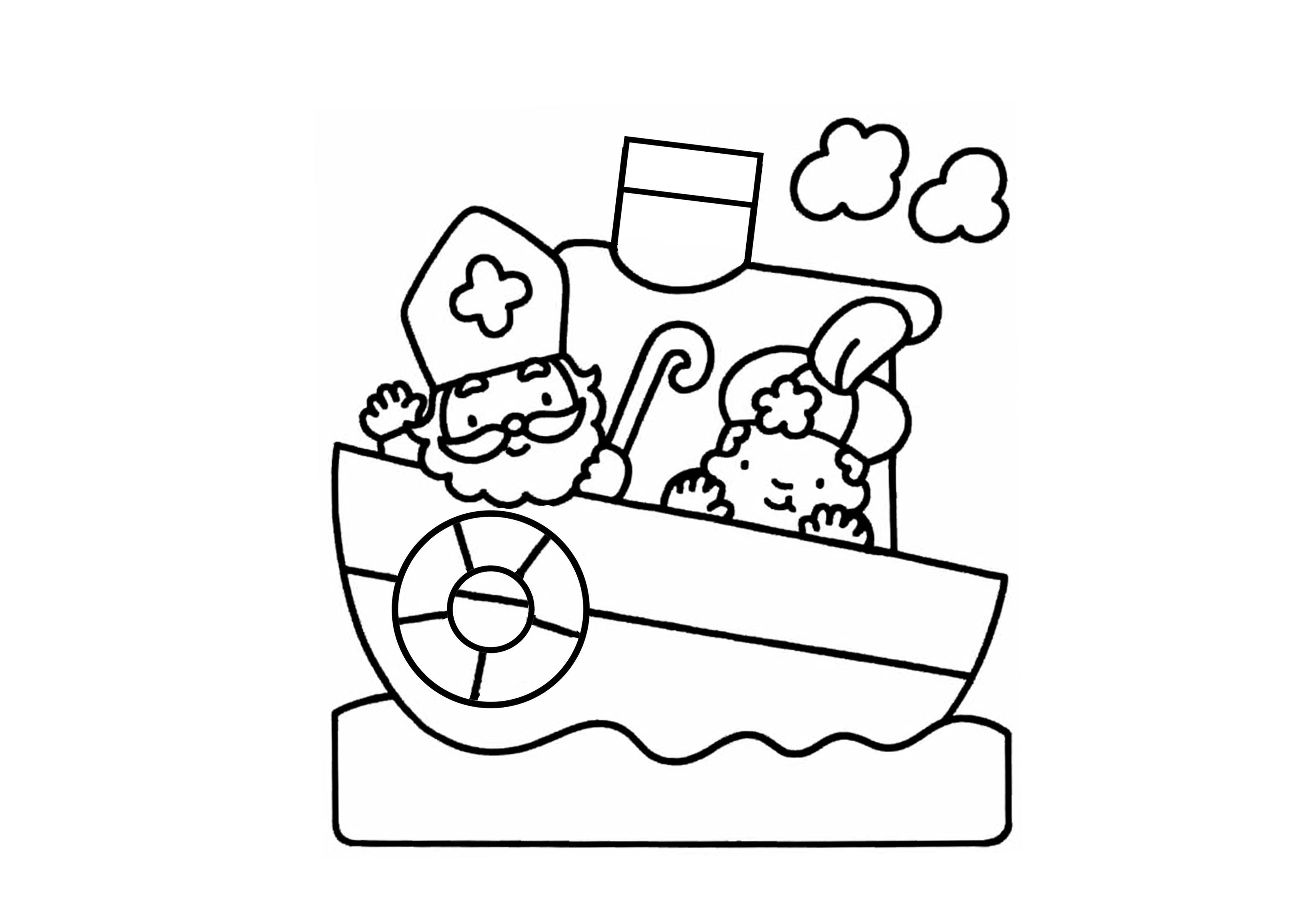 Sinterklaas Stoomboot Kleurplaat Sinterklaas Knutselen Sinterklaas Zwarte Piet