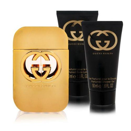 75727a28cc58 GUCCI GUILTY by Gucci Gift Set for WOMEN: EDT SPRAY 2.5 OZ BODY LOTION 1.6  OZ SHOWER GEL 1.6 OZ