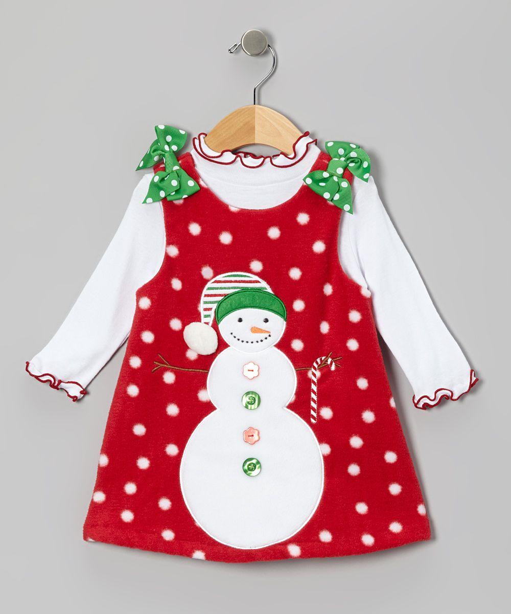 red snowman fleece jumper   top infant  toddler   girls