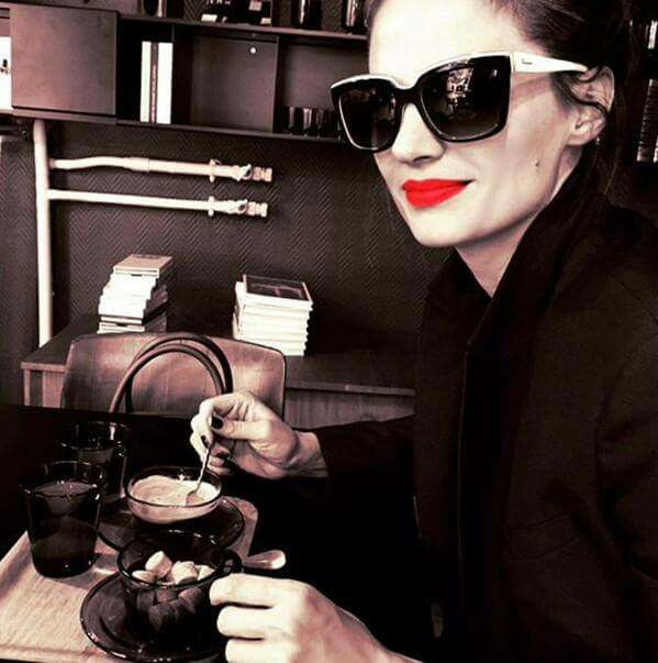stana katic in paris - oct 3rd 2015 - having a double espresso