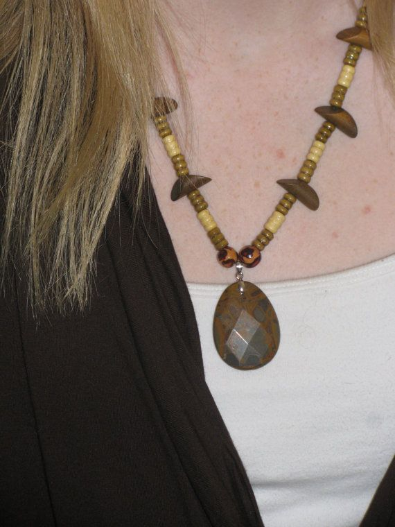 Wood Beaded Necklace with Jasper Pendant by ETNFamilyProducts, $30.00