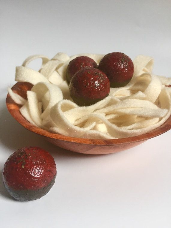NEW Wooden Play Food: Spaghetti and Meatballs by BYOImagination