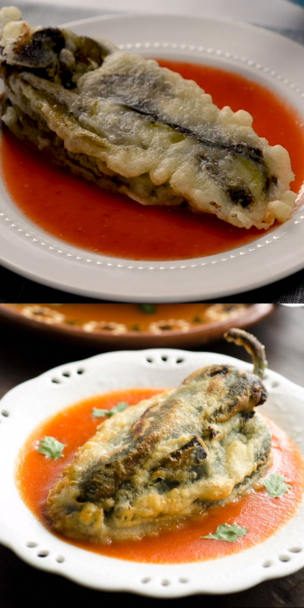 Authentic Vegan Chiles Rellenos, filled with vegan cheese, then battered and fried. Super easy recipe to make!!