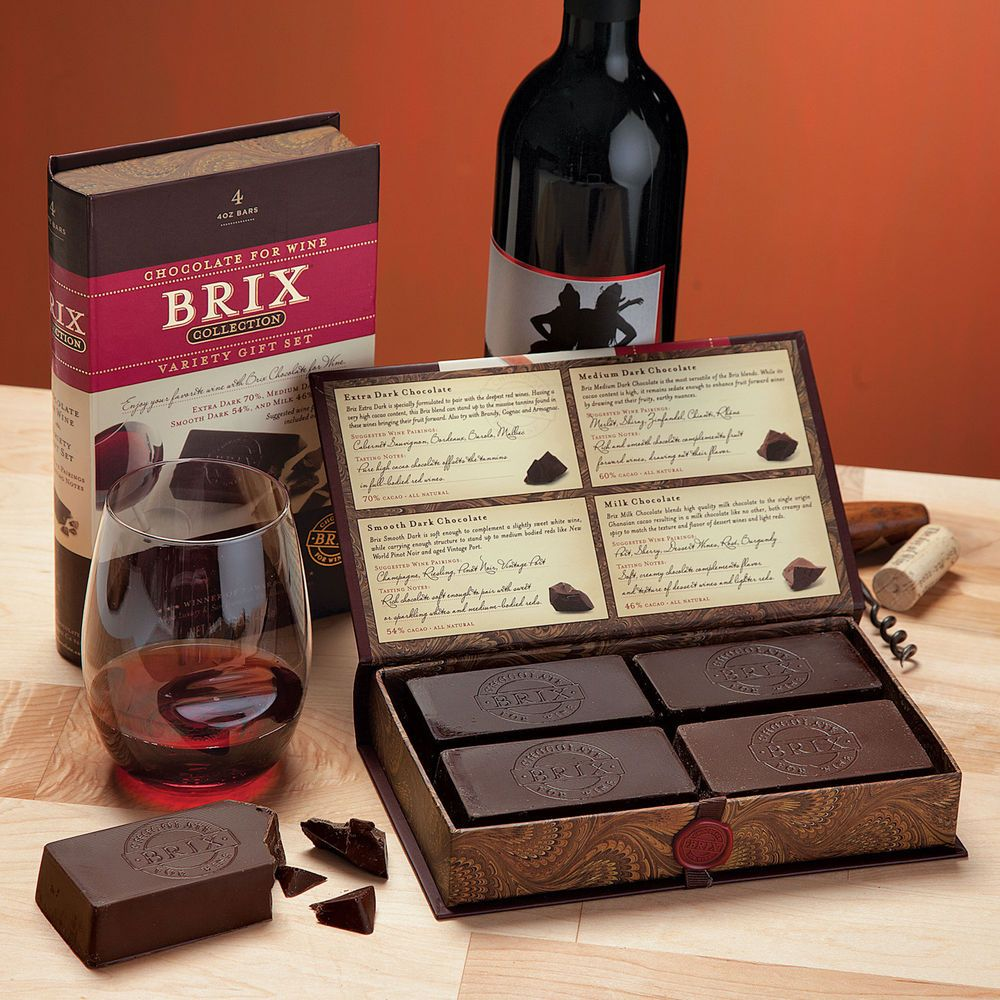 Brix Chocolate For Wine Gift Set Chocolate Bars Designed To Pair With Wines Wine Gift Set Wine Gifts Chocolate Bar Design