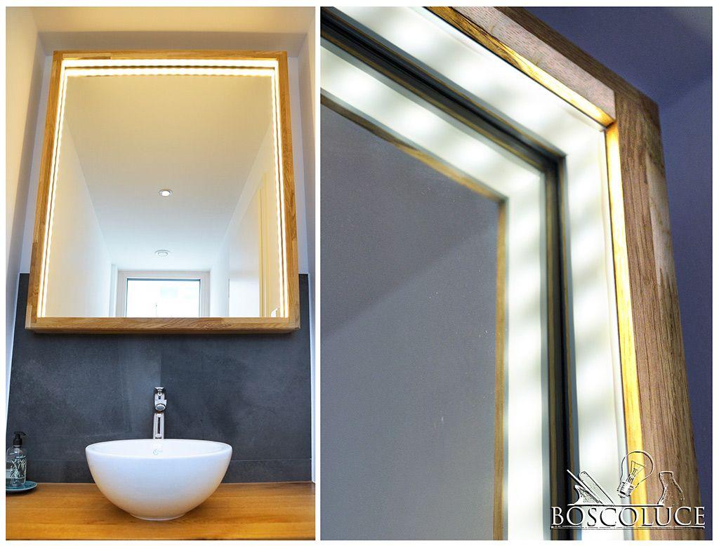Wunderschoner Holz Spiegel Mit Led Beleuchtung Badezimmer Renovieren Spiegel Mit Beleuchtung Spiegel Holzrahmen