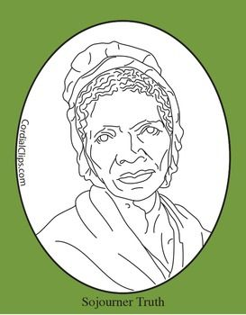 Sojourner Truth Realistic Clip Art Coloring Page And Poster