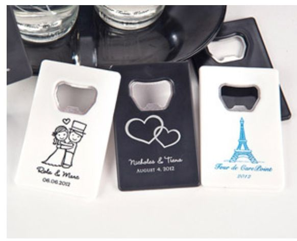 Customized bottle openers for guests