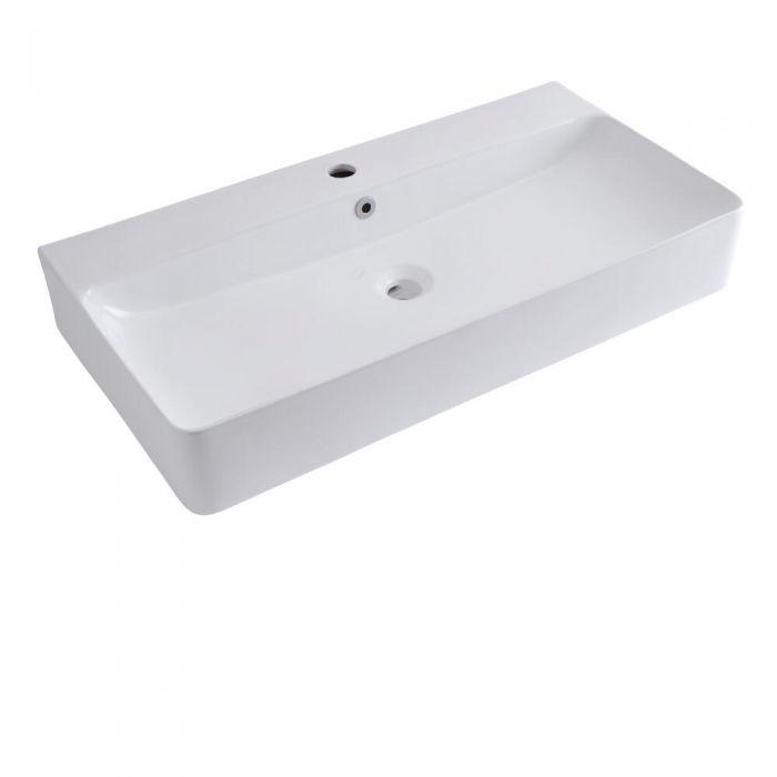 Milano Farington - White Modern Rectangular Wall Hung Basin - 800mm x 415mm (1 Tap-Hole)